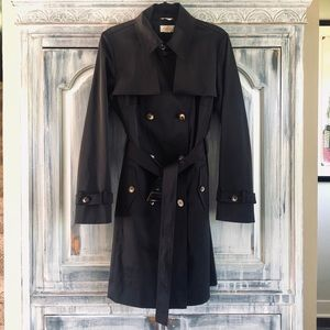Talbots Black Double Breasted Stretch Trenchcoat